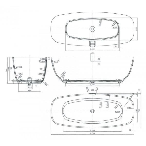 Lusso vasca minimal 169x72 h 54 - Vasche da bagno ovali ...