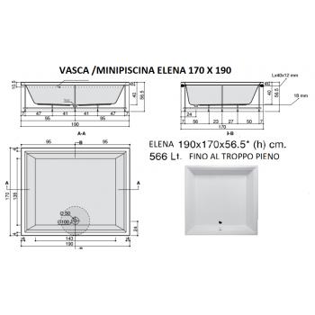 ELENA 170X190 VASCA IDROMASSAGGIO RETTANGOLARE