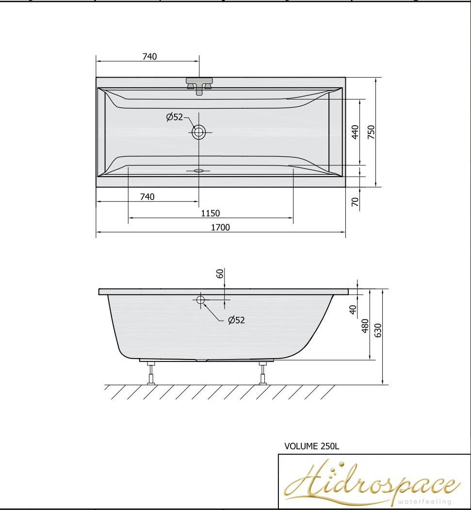 ALBATROS 160 170 X 75 VASCA DA BAGNO RETTANGOLARE