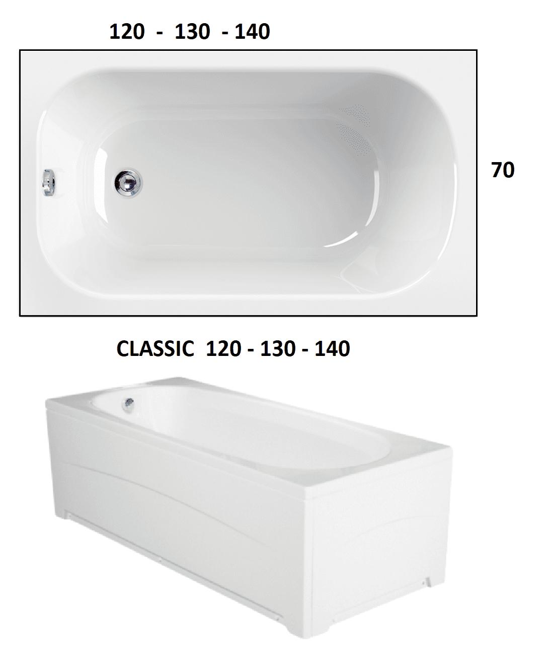 CLASSIC 120-130-140 x 70 VASCA DA BAGNO RETTANGOLARE