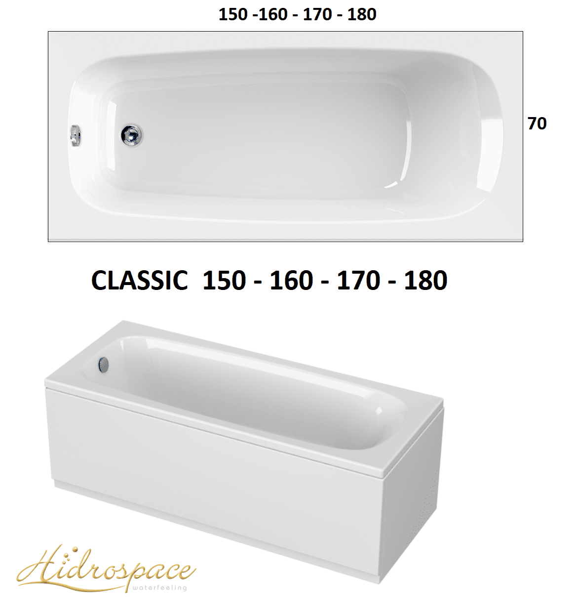 Vasca Da Bagno 130 X 70.Classic 150 160 170 X 70 180 X 80 Vasca Idromassaggio Rettangolare