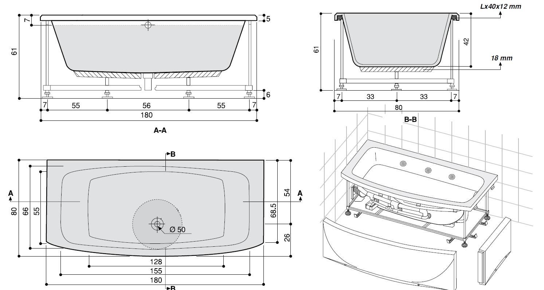 Vasca Rettangolare Spanciata 180 X 70 80