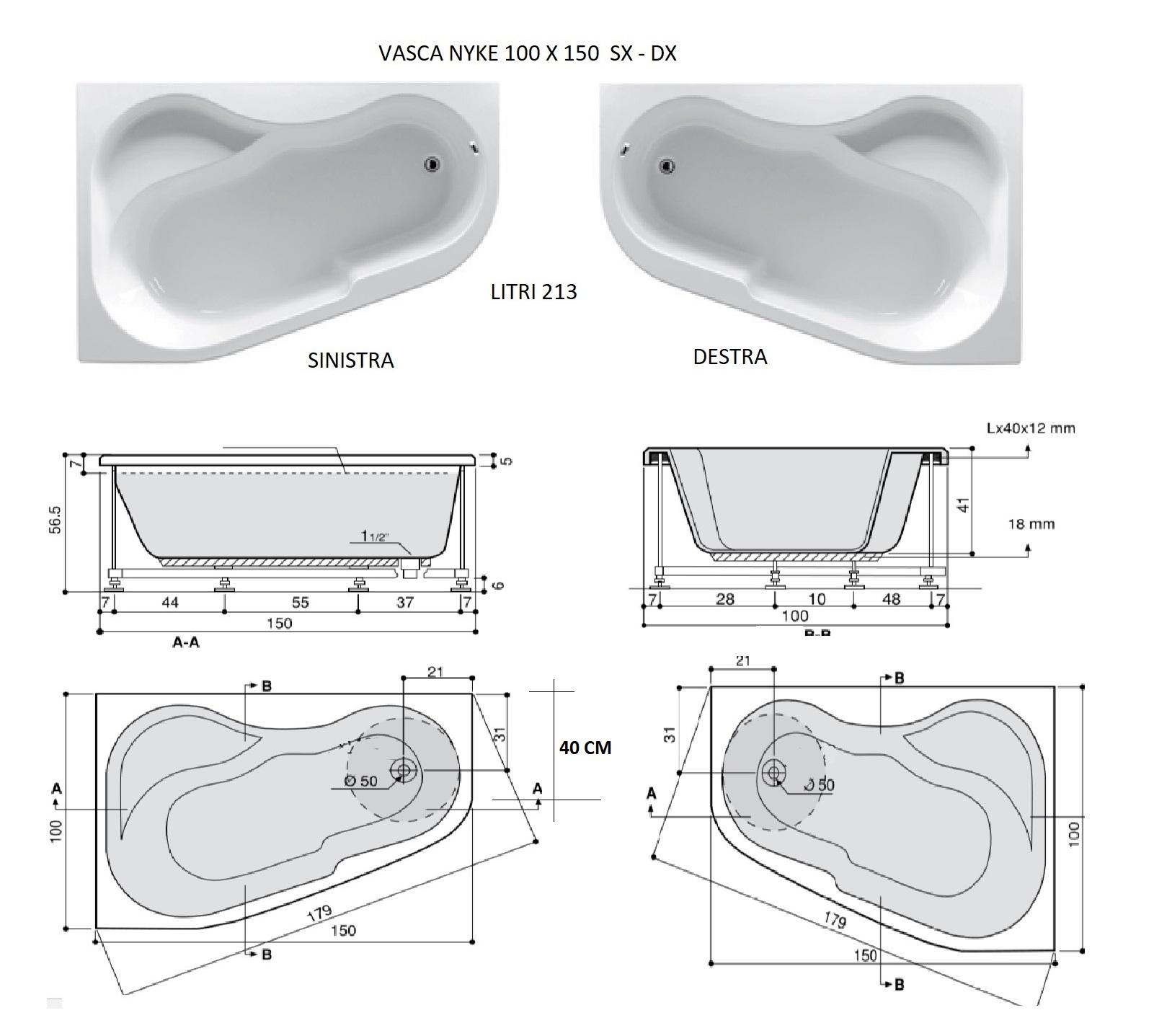 Nyke 100x150 Vasca Da Bagno Asimmetrica