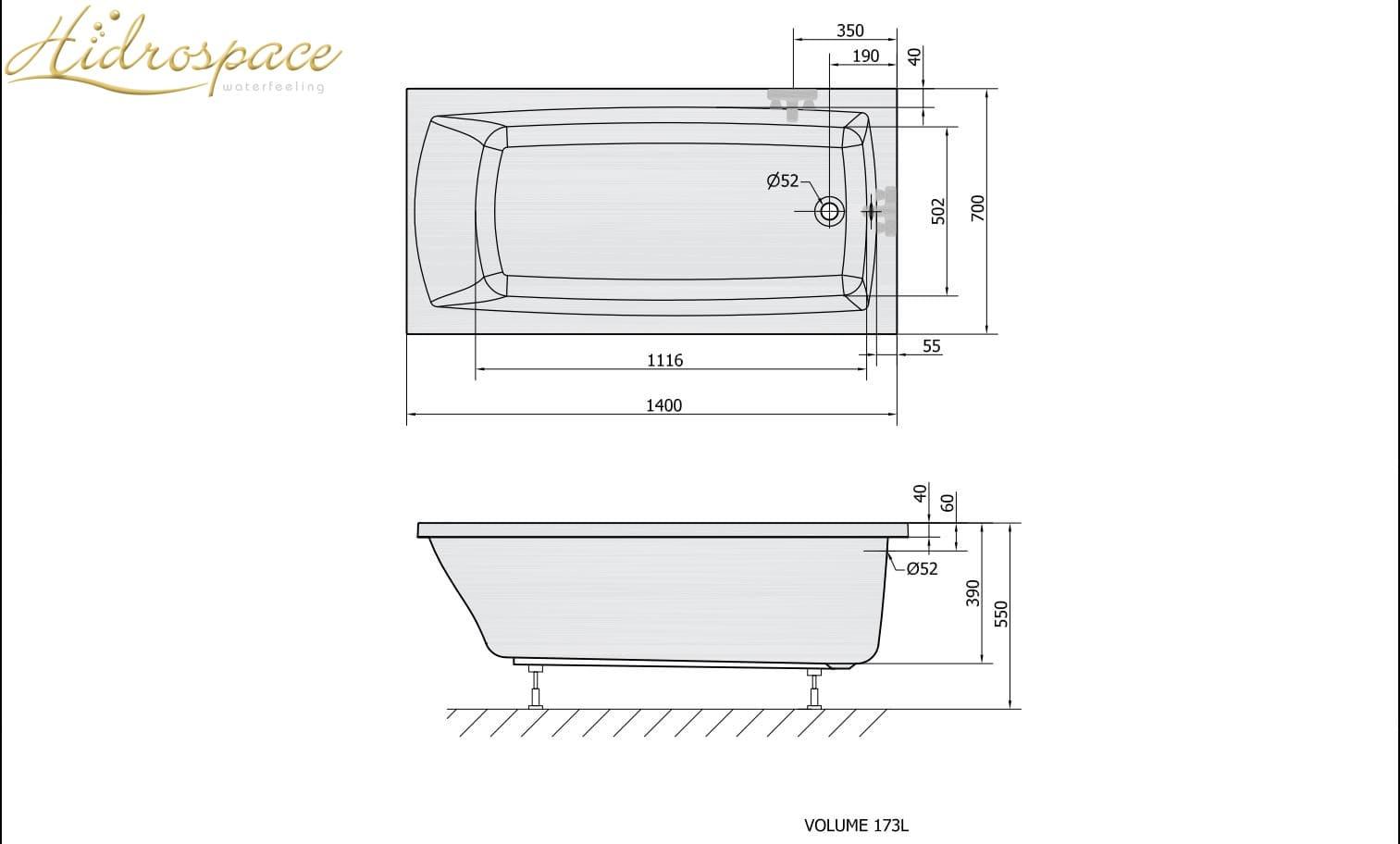 Pratika 120 130 140 150 x70 vasca da bagno rettangolare for Dimensioni vasche da bagno angolari