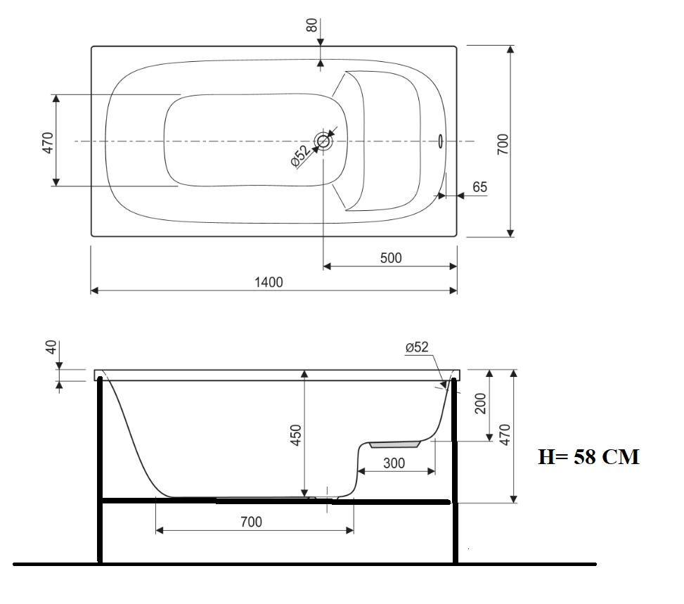 Dimensioni Vasca A Sedile.Vasca Idromassaggio Rettangolari Compatte 105 X 70 120 X 70 140 X 70