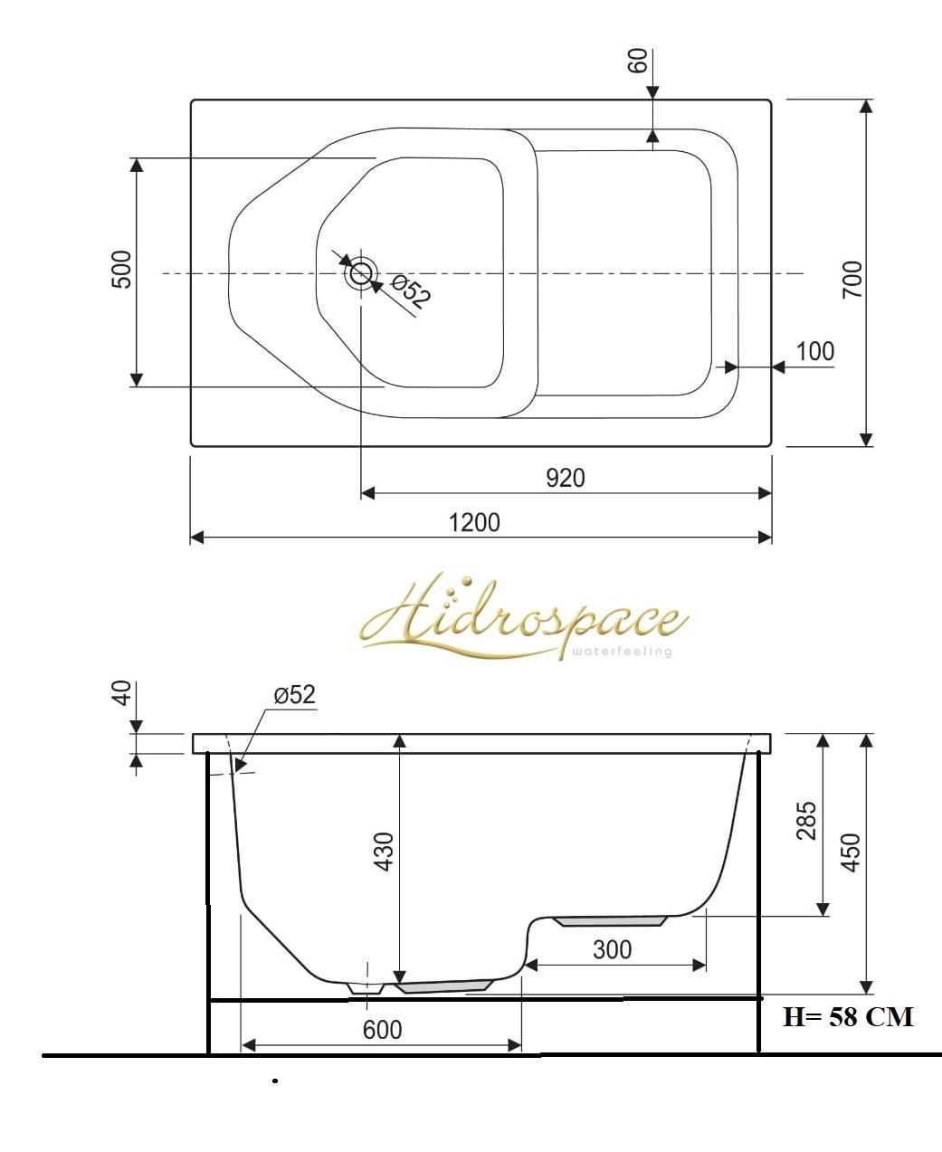 Dimensioni Vasca A Sedile.Vasca Bagno Con Seduta 105 X 70 120 X 70 140 X 70