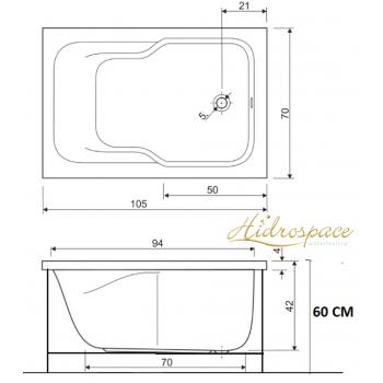 CLASSIC 105 X 70 VASCA DA BAGNO RETTANGOLARE