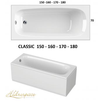 CLASSIC 150-160-170 x 70 180 x 80 VASCA DA BAGNO RETTANGOLARE