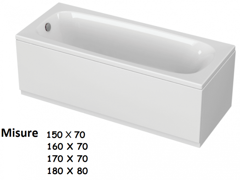 CLASSIC 150-160-170 x 70 e 180 x 80 VASCA DA BAGNO RETTANGOLARE