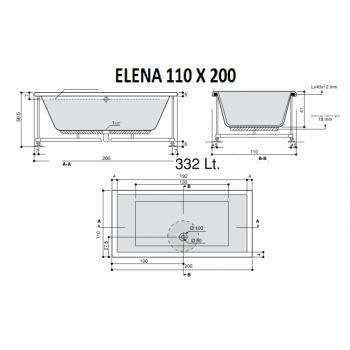 ELENA 200 X 110 VASCA DA BAGNO RETTANGOLARE DUE POSTI