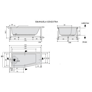 EMANUELA 170 x 80 VASCA DOCCIA DX/SX