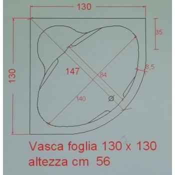 FOGLIA 130 x 130 IDROMASSAGGIO CON SEDUTA