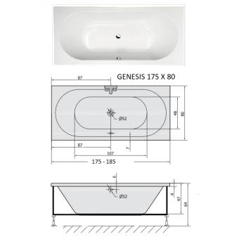 GENESIS 170x70 -175x80-185x80 VASCA DA BAGNO RETTANGOLARE