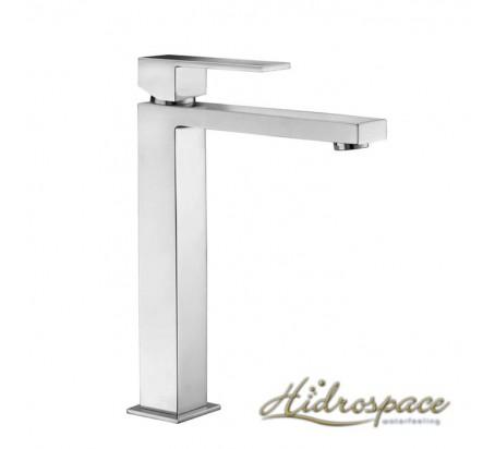 MINIMAL/Miscelatore lavabo alto D.25 con scarico click-clack 1″ 14 e attacchini flessibili