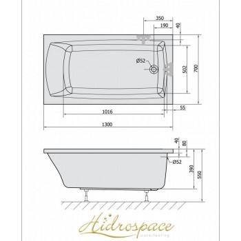 PRATIKA 120-130-140-150x70 VASCA IDROMASSAGGIO RETTANGOLARE
