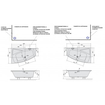 ROSE 100x160 100X170 VASCA IDROMASSAGGIO ASIMMETRICA