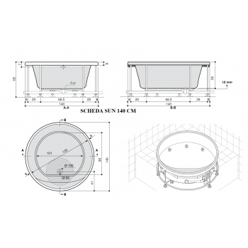 SUN 140- 150 -164 -172- 200 Vasca da bagno rotonda