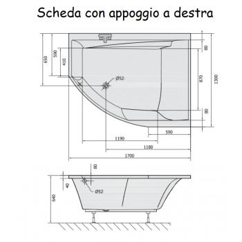 TULIPAN 130x170 VASCA DA BAGNO ASIMMETRICA