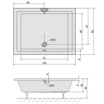 VASCA DOCCIA 100 -110 -120 x (75 o 90) RETTANGOLARE
