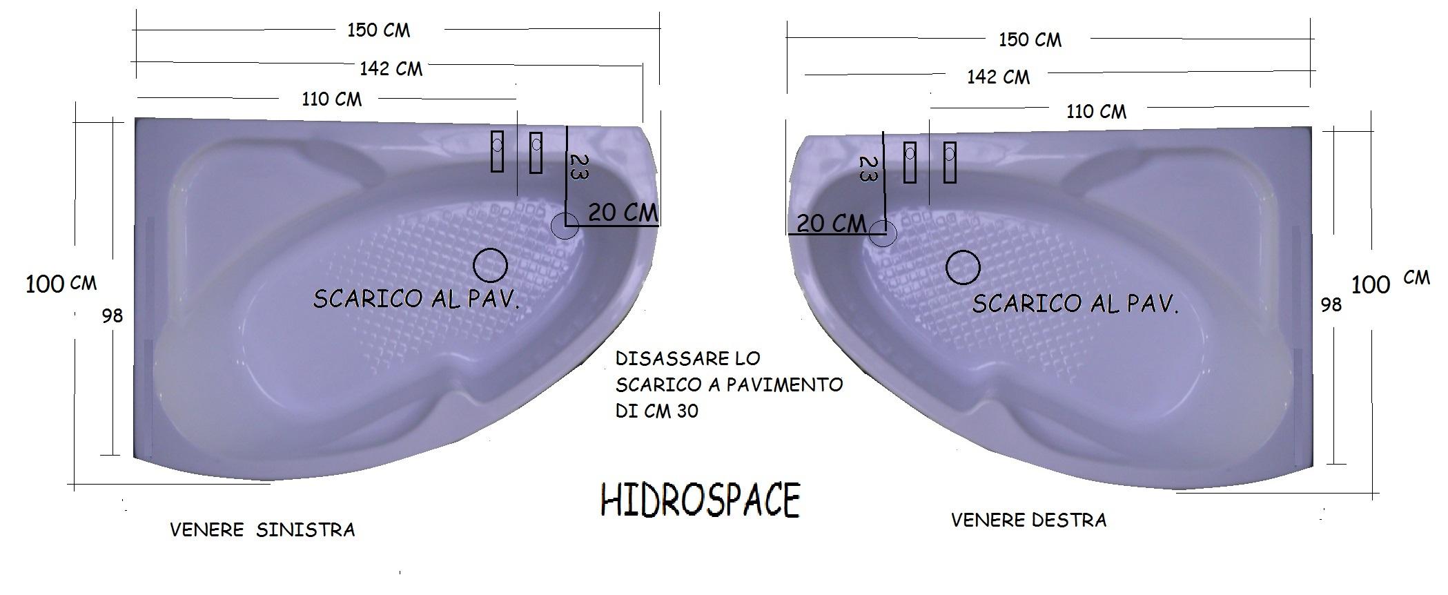 Dimensioni Vasca Da Bagno Angolari.Venere 98x148 Vasca Da Bagno Asimmetrica